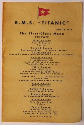 Titanic Lunch Menu On Auction